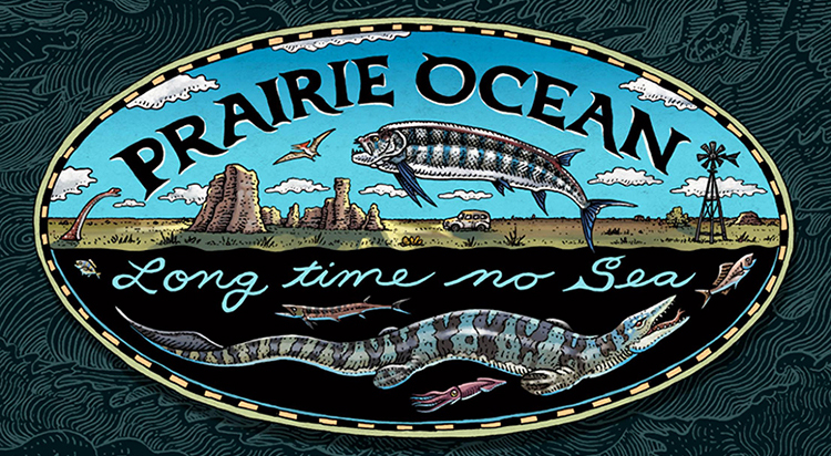 Prairie Ocean image with the text Long time no Sea, Birger Sanzen Memorial Gallery, November 4, 2018 to March 17, 2019, Recent and prehistoric works by Chuck Bonner & Ray Troll
