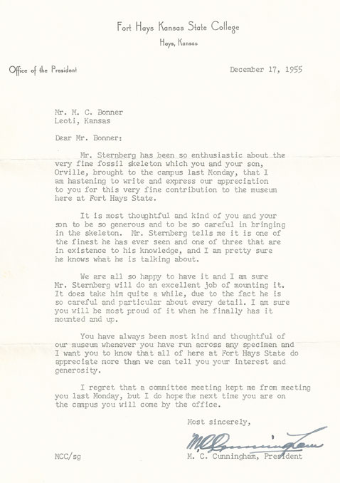 Keystone gallery fossils bonner family fossil history mc letter from mc cunningham expocarfo Gallery